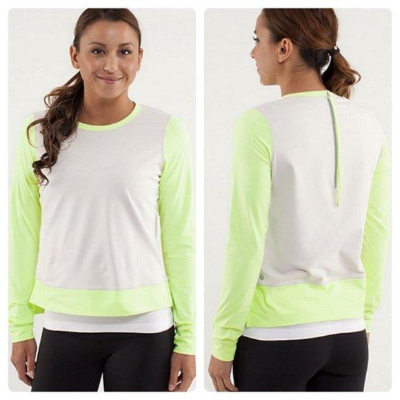 lululemon Warm Up Crew Top Neon Green Sweater